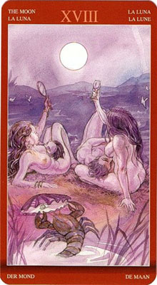 Карта (XVIII) Луна - Воображение. (Таро Магия Наслаждений)