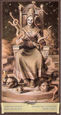 Королева Мечей - Вдовство. (Таро Чёрный Гримуар)