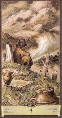 Четверка (4) Мечей. (Таро Чёрный Гримуар)