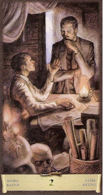 Двойка (2) Жезлов. (Таро Чёрный Гримуар)