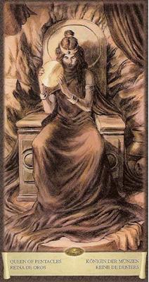 Королева Пентаклей - Покладистость. (Таро Чёрный Гримуар)
