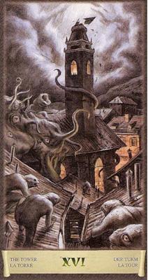 Карта (XVI) - Башня. (Таро Чёрный Гримуар)