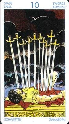 Десятка (10) Мечей (Классическое Таро Артура Уэйта)