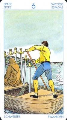Шестерка (6) Мечей - Поиск тихой гавани. (Таро Уэйта)