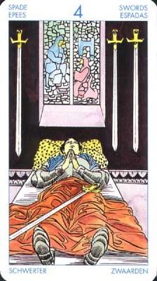 Четвёрка (4) Мечей (Классическое Таро Артура Уэйта)