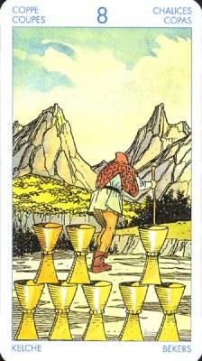 Восьмёрка (8) Кубков - Уход (Таро Артура Уэйта)