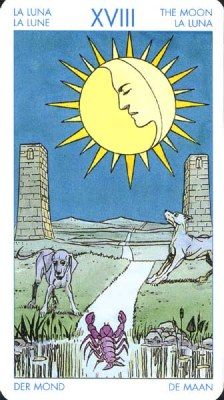 (XVIII) Луна - Неуверенность. (Таро Уэйта)
