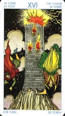 Карта (XVI) Башня - Потрясение. (Таро Уэйта)